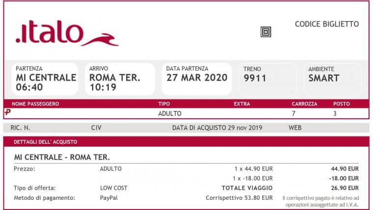 Train Ticket Italy Rome Milan